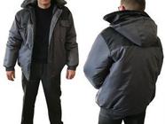 """Куртка утепленная с капюшоном """"Универсал"""" р.60-62 рост 170-176, РФ (цвет: серо-черная, тк Оксфорд)"""