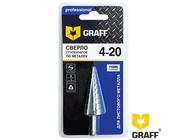 Ступенчатое сверло по металлу 4-20 мм из быстрорежущей стали Graff (70420)