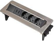 Удлинитель 2м встраиваемый в столешницу (3 роз., 2 USB, H05VV-F 3G1.5) Brennenstuhl (1396200113)